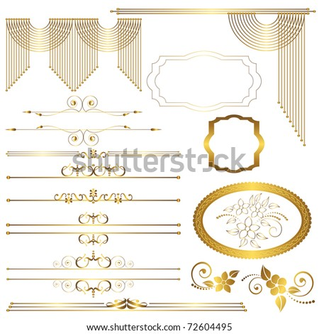 Set. Vintage calligraphic design elements. vector. - stock vector