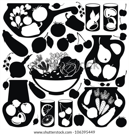 set with abstract food stickers - vector black silhouettes.