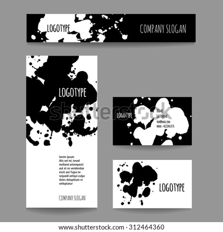 Set with business card and banner. Vector company style for brandbook and guideline.  Artistic design with blots can be used for art companies, creative people or other variants of your design