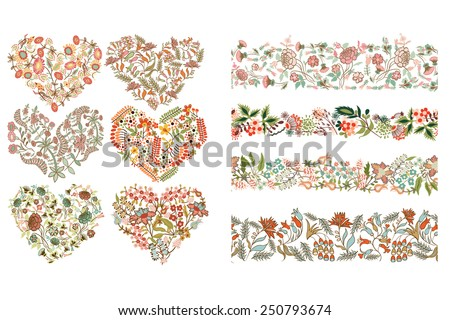 Set with different design elements: hearts , seamless borders with flowers