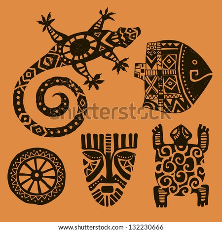 seth animalsfish lizard salamander tortoise mask stock vector 132230666 shutterstock. Black Bedroom Furniture Sets. Home Design Ideas