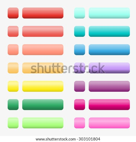 14 sets of buttons with a gradient made in rainbow colors. From red, orange, yellow, green, blue and purple.