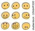 9 sets of cartoon facial expressions icons - stock vector