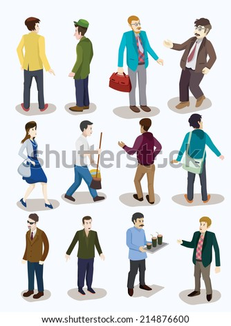 several  people isometric vector set. detailed illustration - stock vector