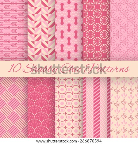 10 Shaby chic vector seamless patterns. Fond pink and white colors. Endless texture can be used for printing onto fabric and paper or invitation. Abstract geometric shapes. - stock vector