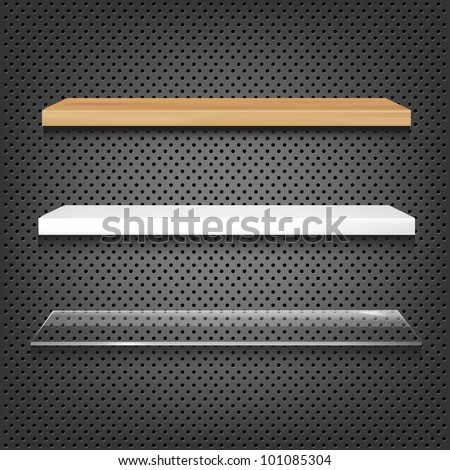 3 Shelves On Abstract Metal Background, Vector Illustration - stock vector