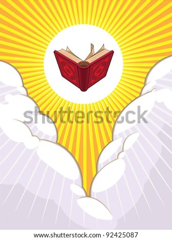 Shining Holy Book Beyond The Clouds - stock vector