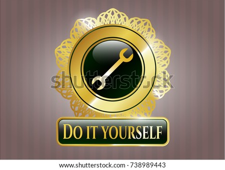 Shiny badge wrench icon do yourself stock vector 738989443 shiny badge with wrench icon and do it yourself text inside solutioingenieria Image collections