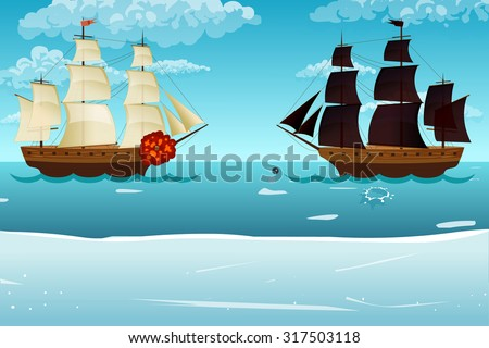 ships set sea vector  illustration