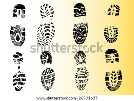 8 Shoeprints - Highly detailed transparent vectors so they can be overliad onto other graphic elements