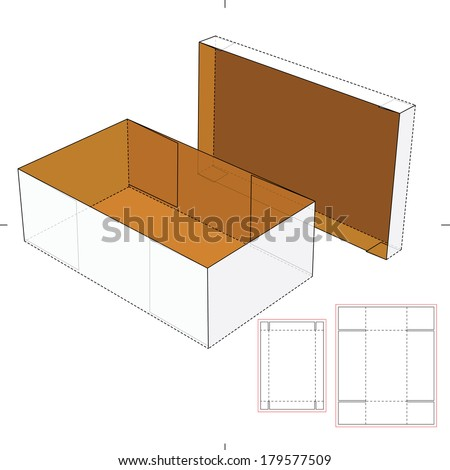 shoes cardboard box diecut pattern stock vector 179577509 shutterstock