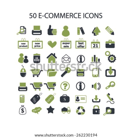 50 shop, ecommerce, retail, internet shop icons, signs, illustrations concept design set on background, vector - stock vector