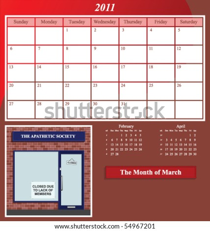 2011 Shop series calendar for the month of March