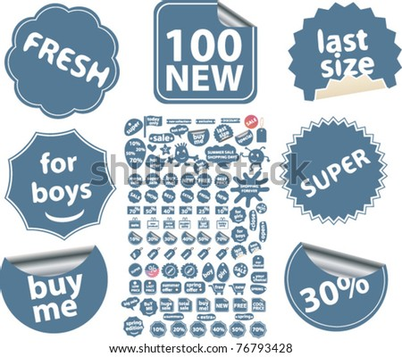 100 shopping & sales stickers, labels, icons, signs, vector illustrations - stock vector