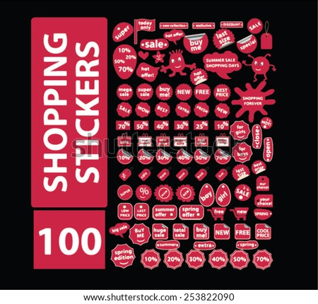 100 shopping stickers, sales, retail, ecommerce labels, isolated flat icons, signs, symbols illustrations, images, silhouettes on background, vector - stock vector