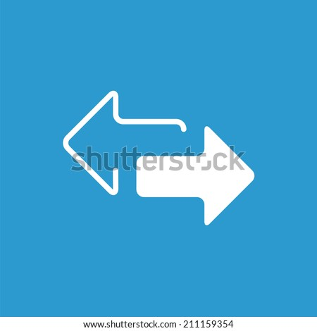 2 side arrow icon, isolated, white on the blue background. Exclusive Symbols  - stock vector