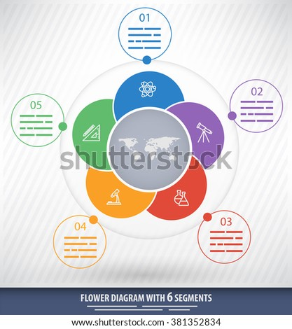5 sided circular presentation template with educational icons and space for text - stock vector