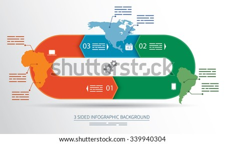 3 sided infographics background for statistics, banners, ads, websites and printed media - stock vector
