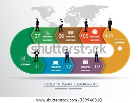 7 sided infographics background for statistics, banners, ads, websites and printed media - stock vector