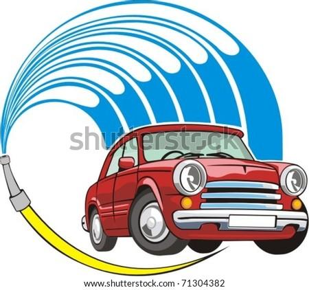 sign a car body washing - stock vector