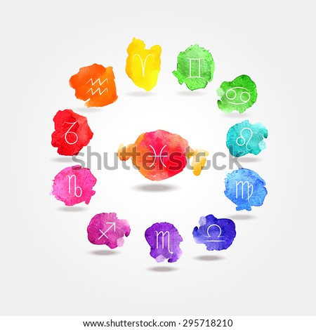 12 signs of the zodiac watercolor texture (symbol). Horoscope Zodiac Star signs, vector set. - stock vector
