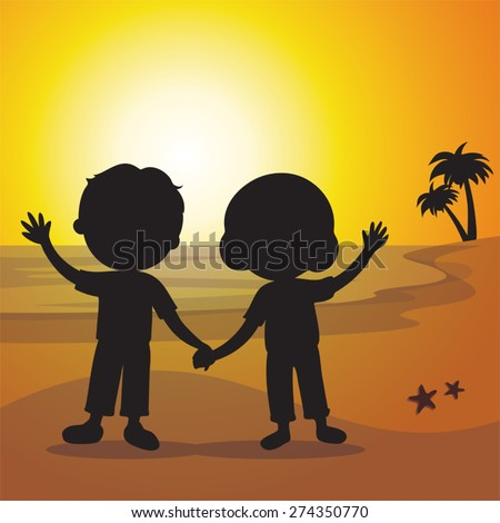 Silhouette elderly couple at sunset. Happy senior couple gesturing with sunset or sunrise beach background. - stock vector