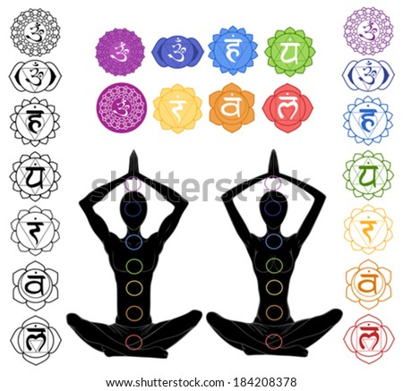 silhouette in yoga position with the symbols of seven chakras  - stock vector
