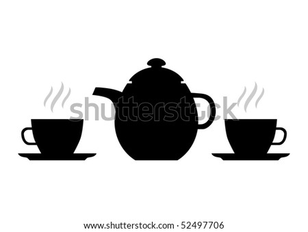 Silhouette of teapot - stock vector