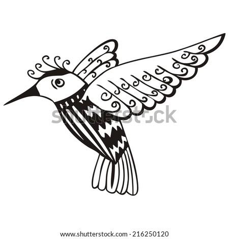 silhouette of the small bird, coloring book, stock vector  - stock vector