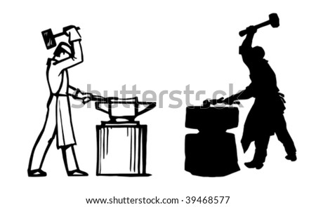silhouette of the smith on white background - stock vector
