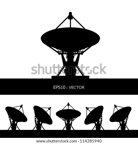 silhouette satellite dish vector - stock vector