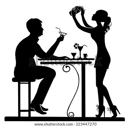 Silhouettes of couples in vector. Bar table, cocktails. Illustration in black and white colors.