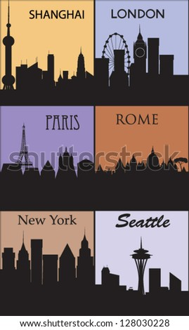 Silhouettes of famous cities. Vector - stock vector