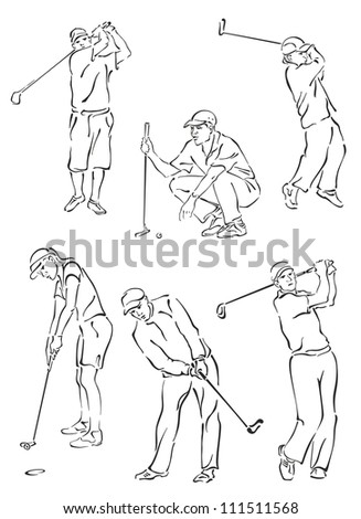 """Silhouettes of golfers in the movement"" - stock vector"