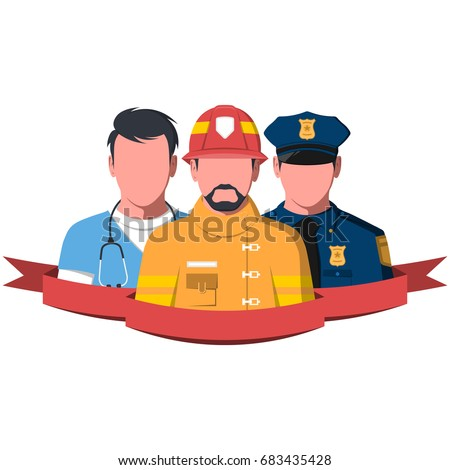 Silhouettes of rescue workers isolated on white background.. People of emergency service - paramedic, firefighter and police man. Rescue team flat vector illustration.