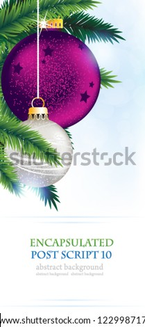Silver and purple Christmas tree balls on a  blue sparkling background