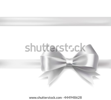 silver ribbon bow. vector decorative design elements - stock vector