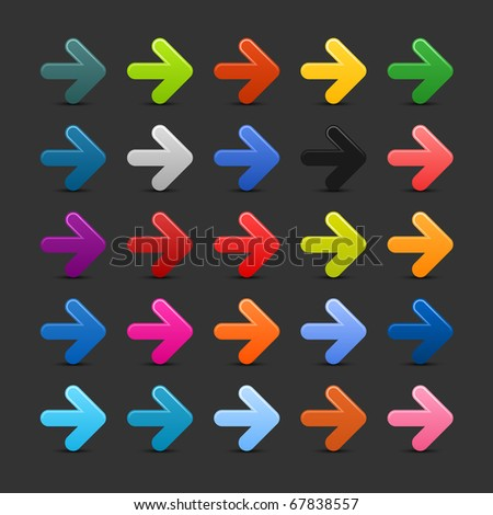 25 simple arrow icon web 2.0 button with shadow on gray background - stock vector