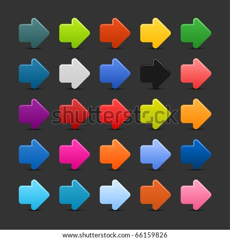 25 simple arrow sign web 2.0 icon. Colored button with shadow on gray background
