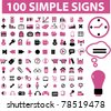 100 simple icons, signs, vector illustrations - stock vector