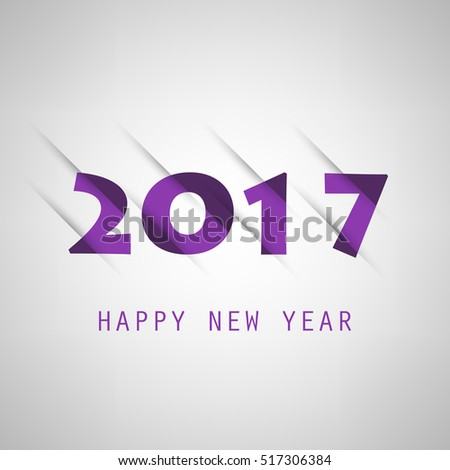 Simple Purple New Year Card, Cover or Background Design Template - 2017