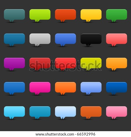 25 simple speech bubble icon web 2.0 buttons. Colored rounded rectangle shapes with shadow on black