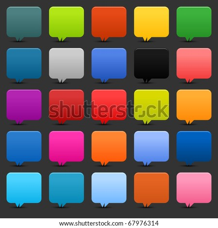25 simple speech bubble web 2.0 buttons. Colored rounded square shapes with shadow on gray background