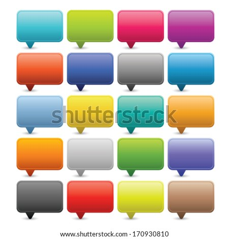 20 simple web dialog speech bubble. Rounded square shapes with shadow on white background