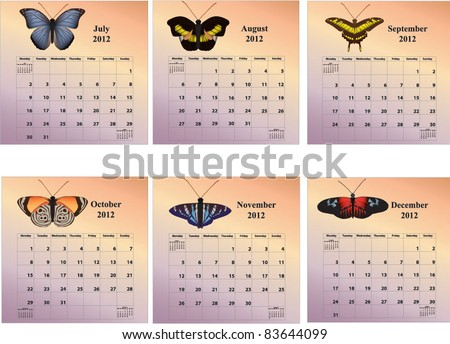 2012 six-month butterfly calendars with week starting on Monday covering months July through December - stock vector