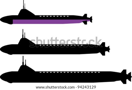 3 sizes of popular nuclear submarines - stock vector
