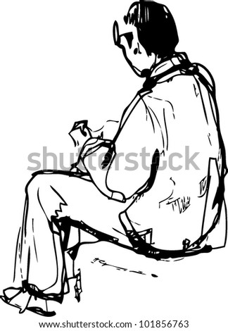 sketch a young man sits and that does hands