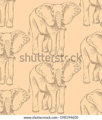 Sketch elephant, vector vintage seamless pattern epa10 - stock vector