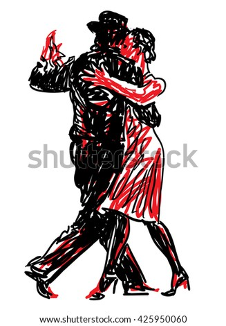 Sketched Dancers  - stock vector