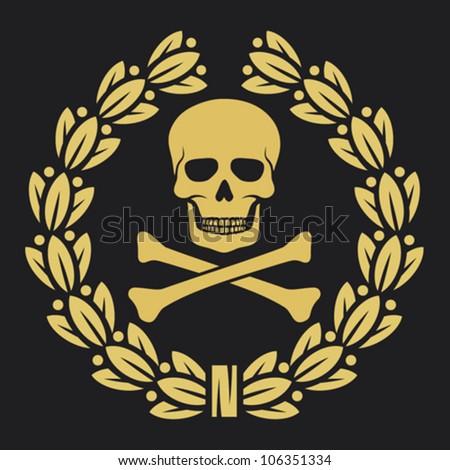 skull, bones and laurel wreath symbol (pirate symbol, skull and cross bones, skull with crossed bones, skull and bones symbol, pirates symbol) - stock vector